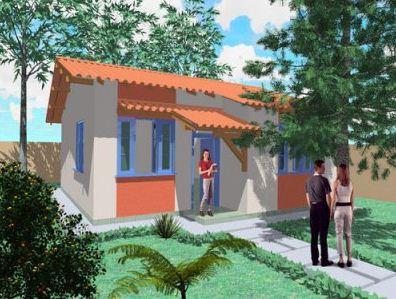 Fachada de casa moderna y económica