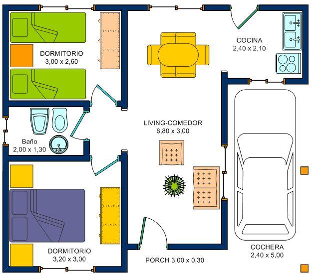 planos de casas 2 dormitorios y garaje
