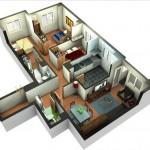 Plano de casa moderna con 3 dormitorios