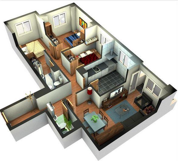 Plano de casa moderna con 3 dormitorios Planos interiores de casas modernas