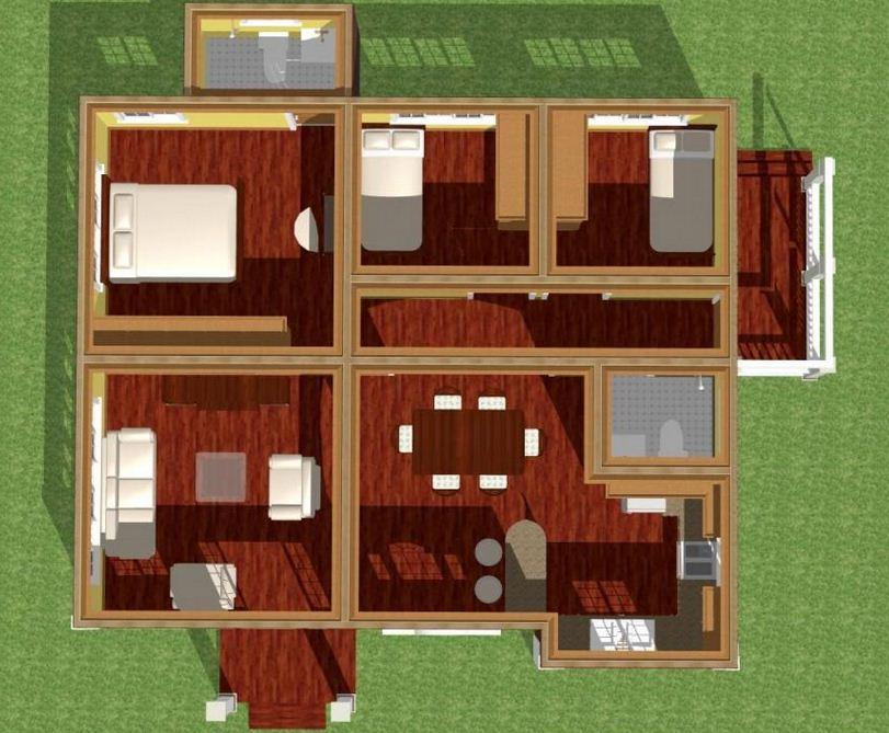 Plano de casa moderna de 150 m2 for Casa moderna 50 metros cuadrados