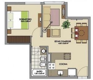 plano de casa moderna de un dormitorio