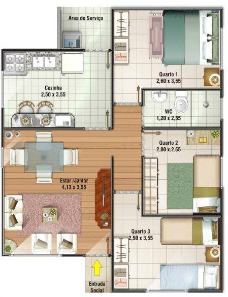 Plano De Casa Moderna Y Econ Mica