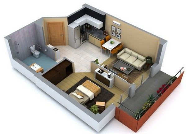 Plano de departamento de 1 dormitorio con balc n for Plano departamento 2 dormitorios