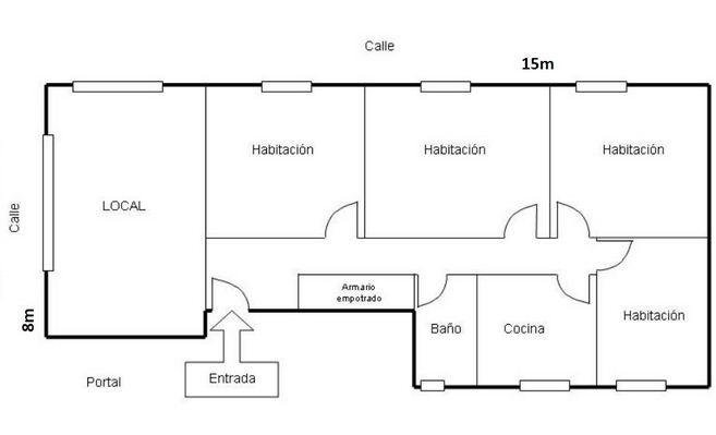 Plano de casa con local comercial for Creador de planos sencillos para viviendas y locales