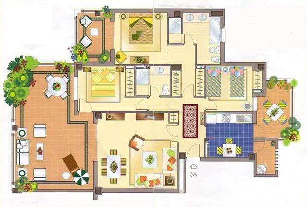 Plano de casa con numerosos patios