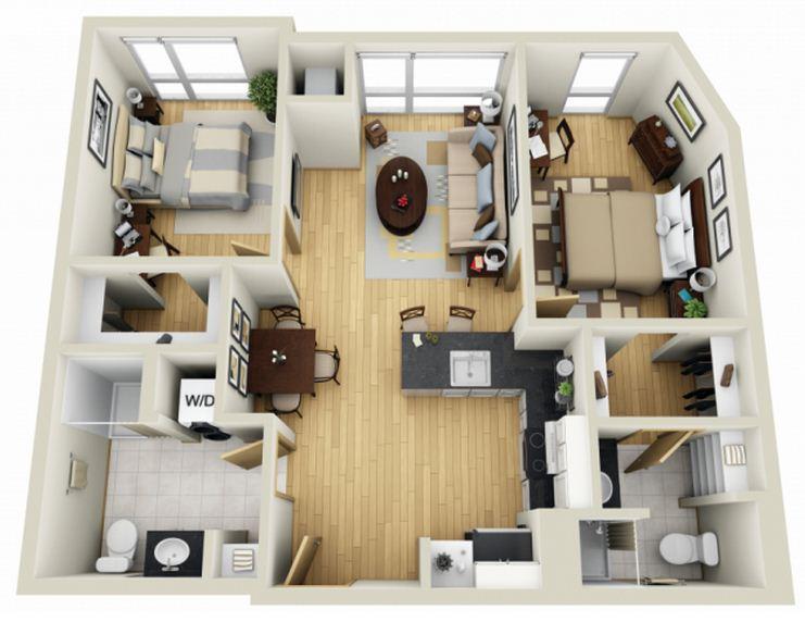 Plano en 3d planos de casas modernas Planos de dos dormitorios
