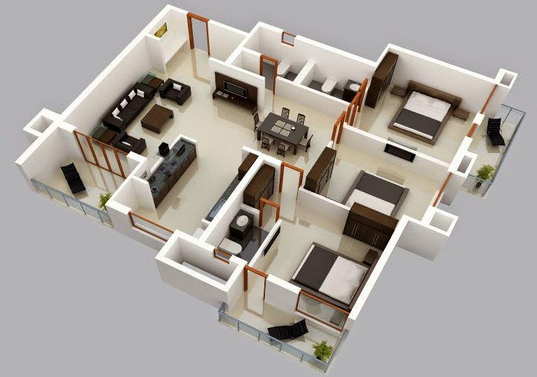planos de casas modernas de 3 cuartos