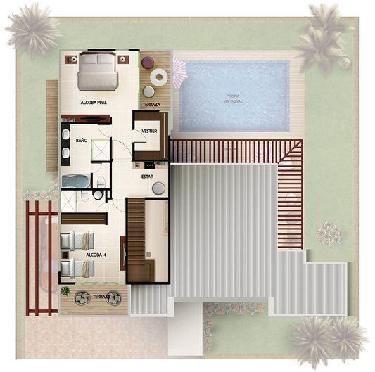 Plano de casa quinta con pileta y garage doble