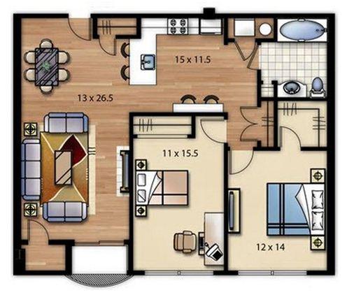 Plano de casa sencilla de dos dormitorios