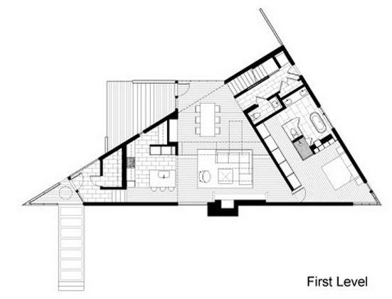 Plano de casa triangular de dos pisos