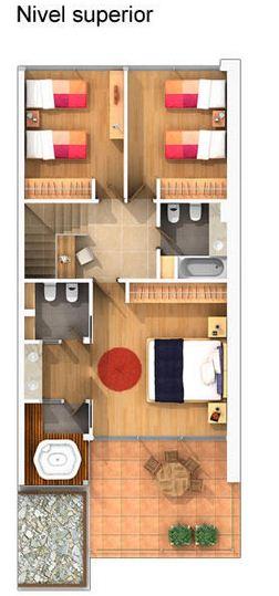 Plano de departamento angosto con 3 dormitorios