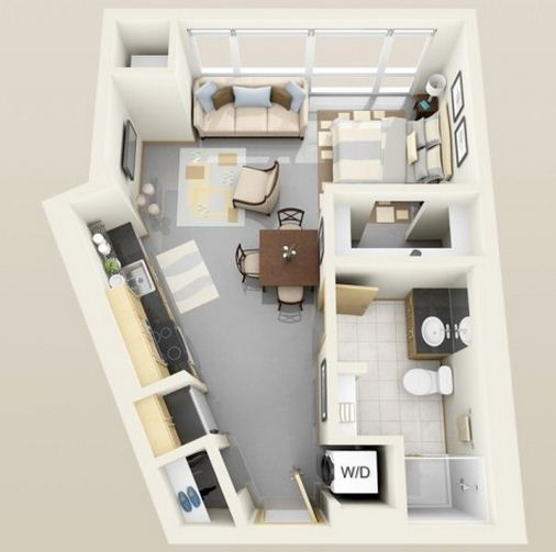 Plano de departamento de 30 m²