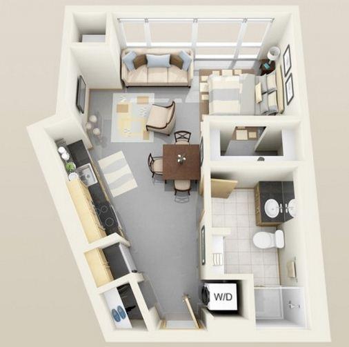Plano de departamento de 30 m for Modelos de mini departamentos