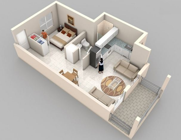 Plano de departamento de un ambiente con balcón