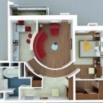Plano de departamento de un dormitorio moderno