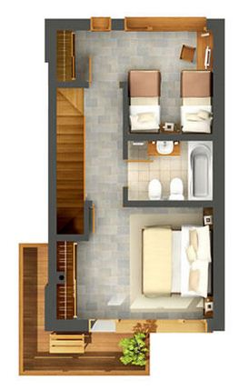 Plano de duplex moderno for Plano departamento 2 dormitorios