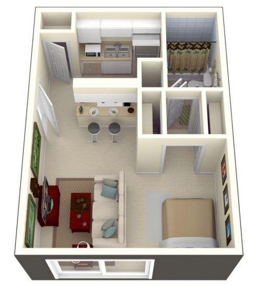 Plano de monoambiente de 30 m2 for Apartaestudios pequenos