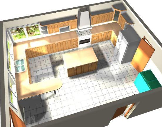 Plano de cocina en isla planos de casas modernas for Plano cocina con isla
