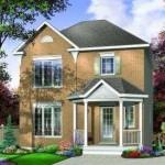 Plano de casa de 3 dormitorios y 2 pisos
