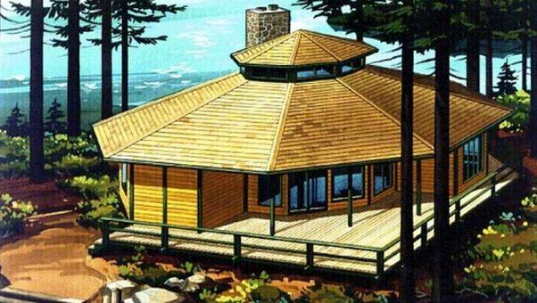 Fachada de casa hexagonal
