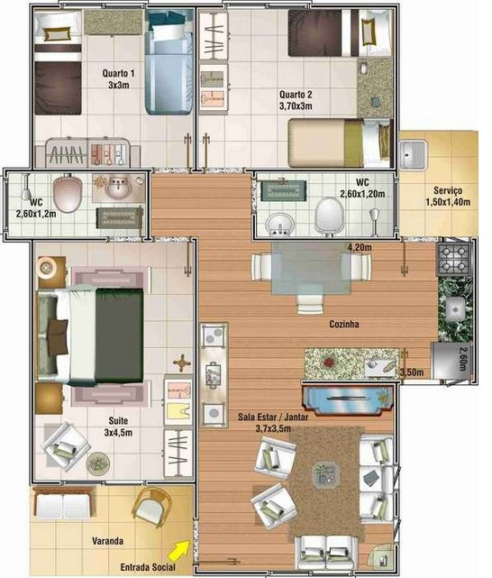 Plano de casa moderna chica
