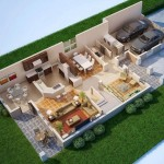 Plano de casa moderna con garage doble