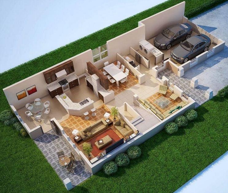 Plano de casa moderna con garage doble - Planos de casas modernas de una planta ...
