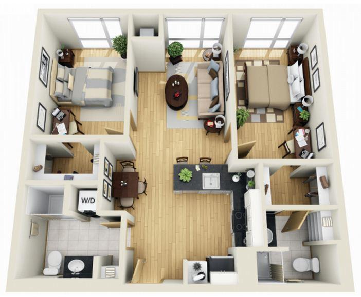 Plano de casa moderna de 75 m²