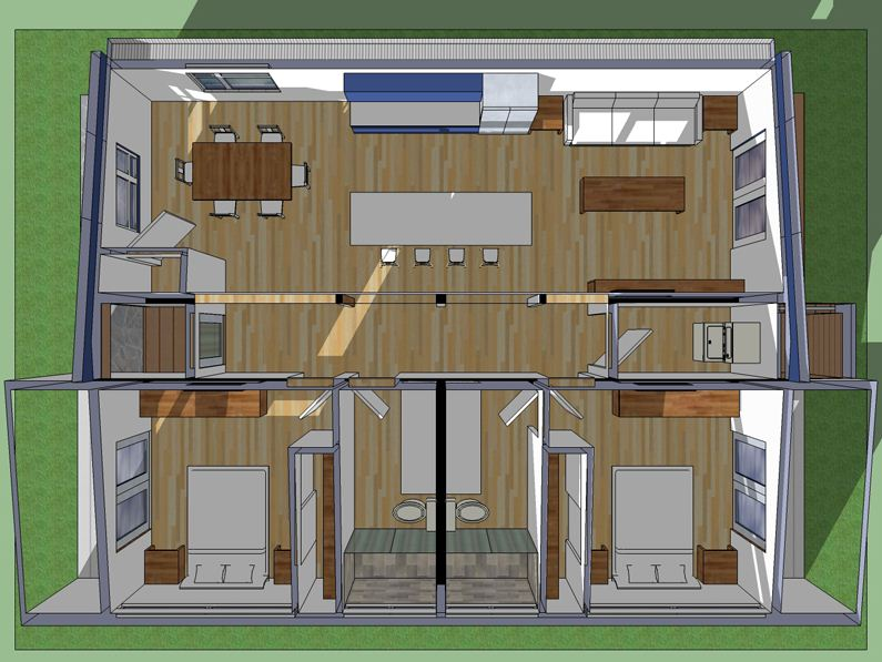 Plano de casa moderna de 90 m2 de una planta