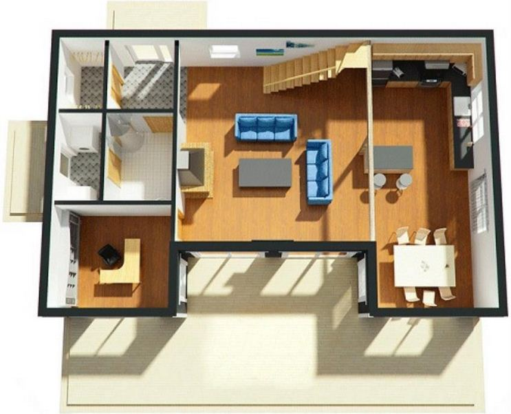 Plano de casa quinta moderna en 3D