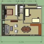 Plano de casa sencilla de 8 × 10 m2