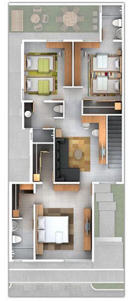 Plano de departamento de 140m2 con garage doble