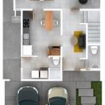 Plano de departamento de 140m2 en dos niveles con garage doble
