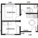 Plano de departamento de un dormitorio en 40 m2 for Plano departamento 2 dormitorios