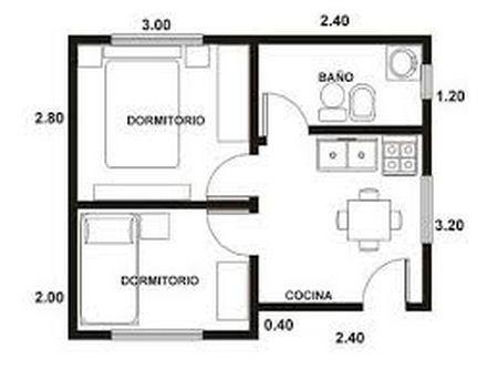 Plano de departamento de 27 m2