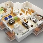Plano de departamento de 3 dormitorios con lavadero