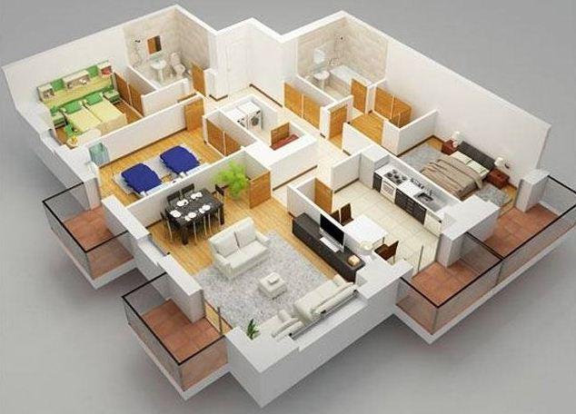 Plano de departamento de 3 dormitorios con lavadero for Casa con lavadero