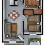 Plano de departamento de 60 m2 con cochera