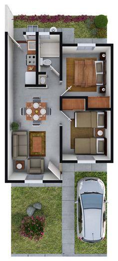 Plano de departamento de 60 m² con cochera