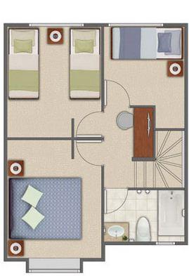Plano de duplex pequeño y moderno dormitorios