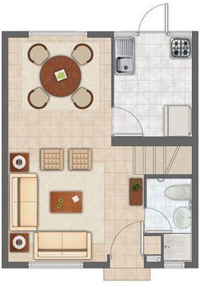 Plano de duplex peque o y moderno for Modelo de departamento pequeno