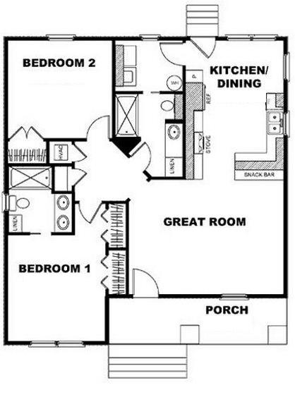 Plano de casa de 2 dormitorios en 100m2