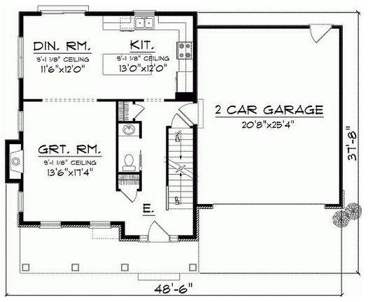 Plano de casa de 3 dormitorios en 2 plantas