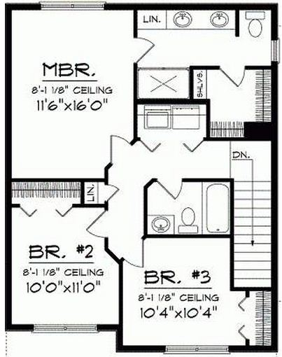 Plano de casa de 3 dormitorios y dos pisos