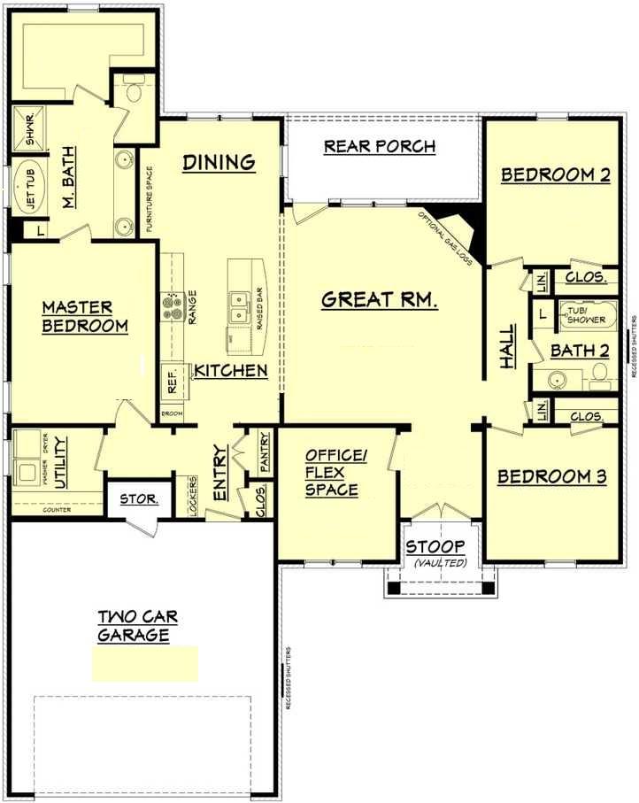 Plano de casa moderna con tres dormitorios oficina y for Oficinas modernas planos