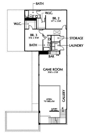 Plano de casa moderna de 2 pisos con game room