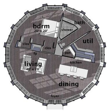 Plano de casa redonda de 1 piso