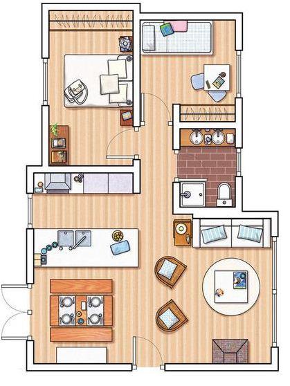 plano de departamento de 2 dormitorios On planos de departamentos de 2 dormitorios