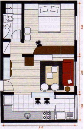 Plano de departamento de un dormitorio en 40 m2 for Pisos de 40 metros decoracion